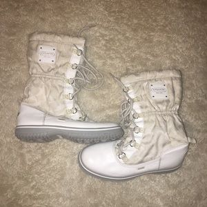 Coach white winter boots